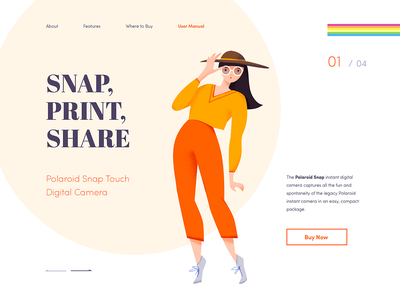 Landing page - Polaroid animation minimal illustration landing web design ux ui colors clean