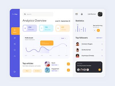 Dashboard - SocApp app graphic minimal website web design ux ui colors clean