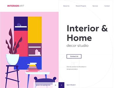 Landing page - INTERIORart animation website minimal illustration landing web design ux ui colors clean