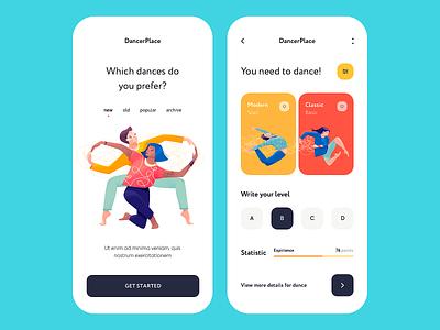 Mobile app - DancerPlace place app mobile minimal illustration design ux ui colors clean