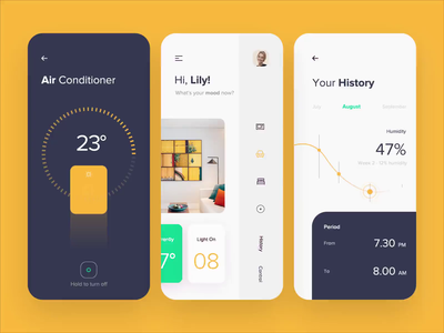 Mobile app - Smart House smart animation app mobile design ux ui colors clean