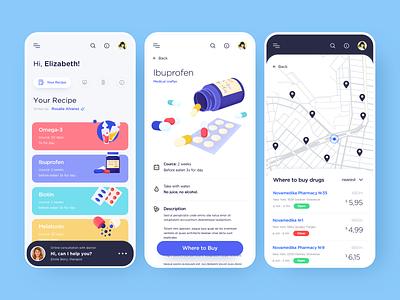 Mobile app - Online Pharmacy product design product vector mobile app illustration design ux ui colors clean