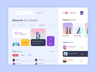 Dashboard - Discover new location one app page minimal web dashboard design ux ui colors clean