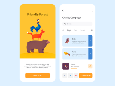 Mobile app - Friendly Forest forest vector app mobile minimal illustration design ux ui colors clean