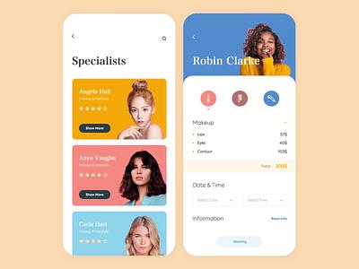 Mobile App - Beauty Services animation mobile app minimal design ux ui colors clean