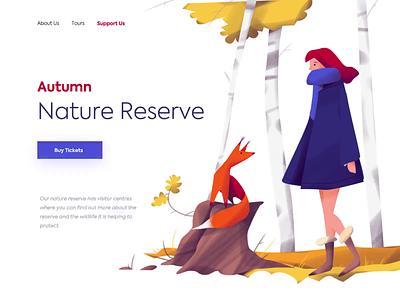 Landing Page - Autumn Nature Reserve website minimal landing illustration web design ux ui colors clean