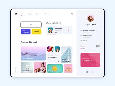 Dashboard - Podkast Light app product website animation minimal design ux ui colors clean
