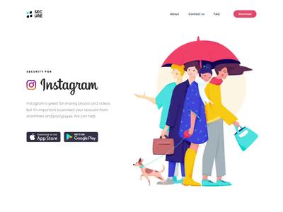 Landing Page - SECURE website landing illustration minimal web design ux ui colors animation