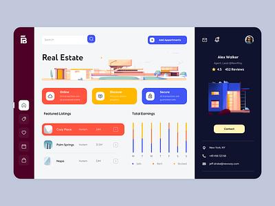 Web Platform - R.E. Senior landing app illustration minimal web design ux ui colors clean