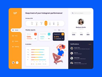 Web Platform - Instagram Performance clean web illustration app website minimal design ux ui colors