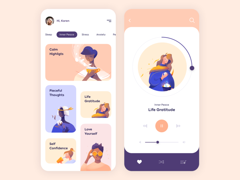 Mobile App - Mindfulness minimal mobile clean vector app illustration design ux ui colors