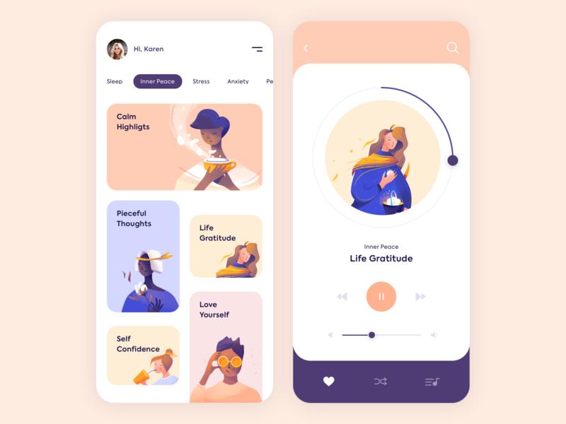 Mobile App - Mindfulness minimal mobile clean vector app illustration design ux ui colors