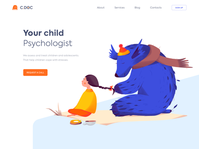 Landing Page - C.DOC website landing illustration web minimal design ux ui colors clean