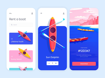 Mobile app - Rent a boat app mobile animation illustration minimal design ux ui colors clean