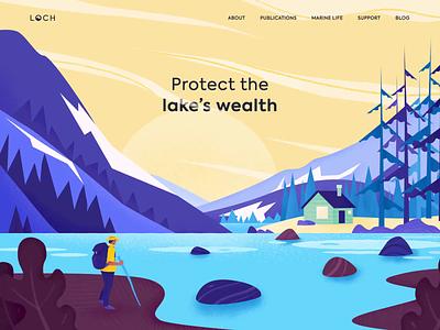 Landing - Lakes wealth Loch website animation landing illustration web minimal design ux ui colors