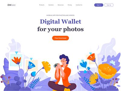 Landing Page - DWallet page website landing illustration web minimal design ux ui colors
