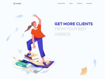 Landing page - Accele animation website landing web illustration minimal design ux ui colors