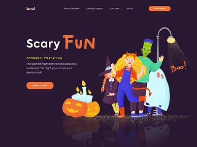 Halloween - Boo Party website animation landing illustration web minimal design ux ui colors