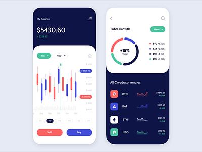 Mobile app - Cryptocurrency Trading Platform platform mobile clean app animation minimal design colors ux ui