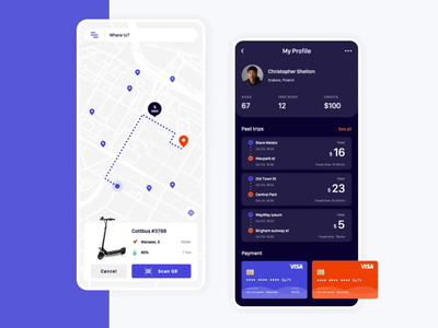 Mobile app - Rent a scooter