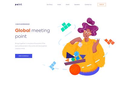 Landing page - Team Building Conference vectors website landing illustration web minimal design ux ui colors