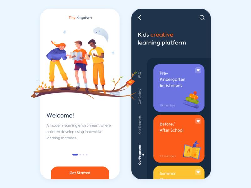 Mobile app - Tiny.Kingdom mobile app design clean vector minimal illustration ux ui colors
