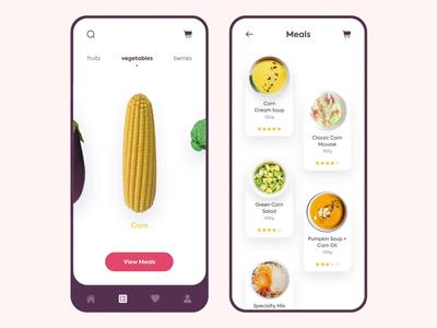 Mobile app - Vegan meal vegan clean app animation mobile minimal design ux ui colors