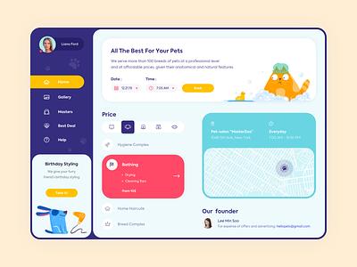 Web app - Grooming salon minimal app clean website illustration web design ux ui colors