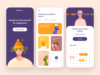 Mobile App - Happify vectors minimal clean app mobile design illustration colors ux ui