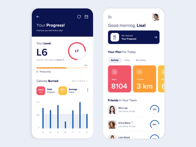 Mobile app - Your activity clean mobile vector app animation minimal design ux ui colors