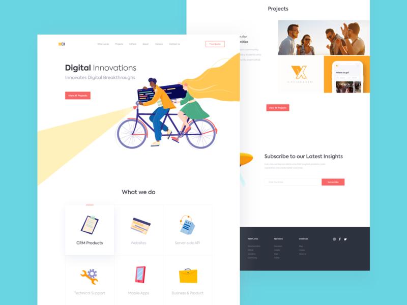 Landing page - Digital Innovations clean landing web minimal website illustration design ux ui colors
