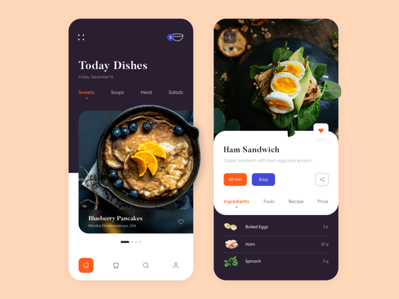 Mobile App - Kitchen Stories illustration kitchen clean colors minimal design ux ui app mobile