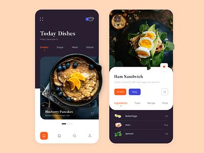 Mobile App - Kitchen Stories illustration kitchen clean colors minimal design ux ui app mobile