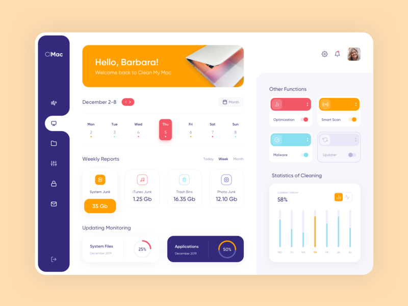 Dashboard - CleanMac clean page app website design minimal web ux ui colors