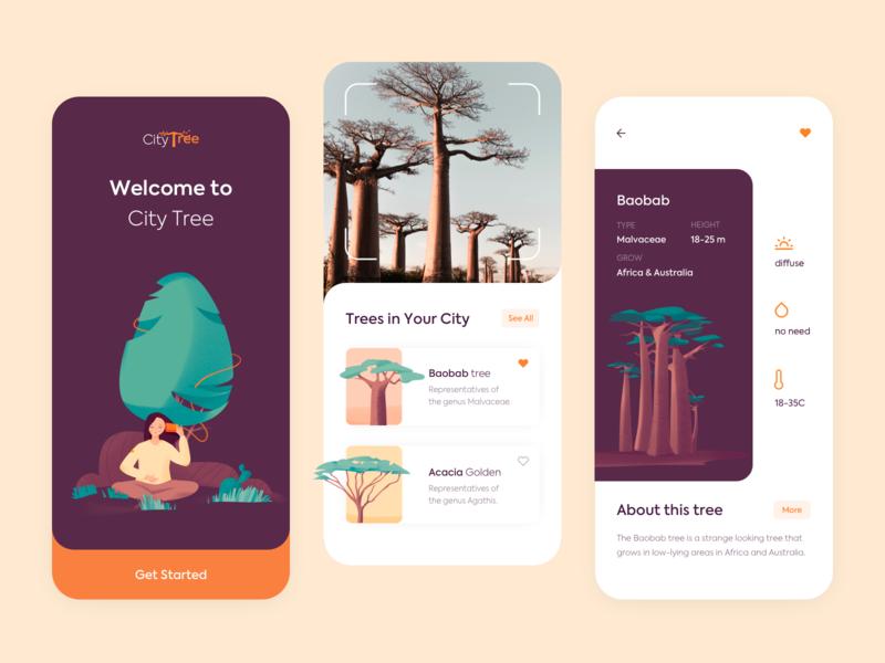 City Tree - Mobile App vector app design clean colors mobile minimal illustration ux ui