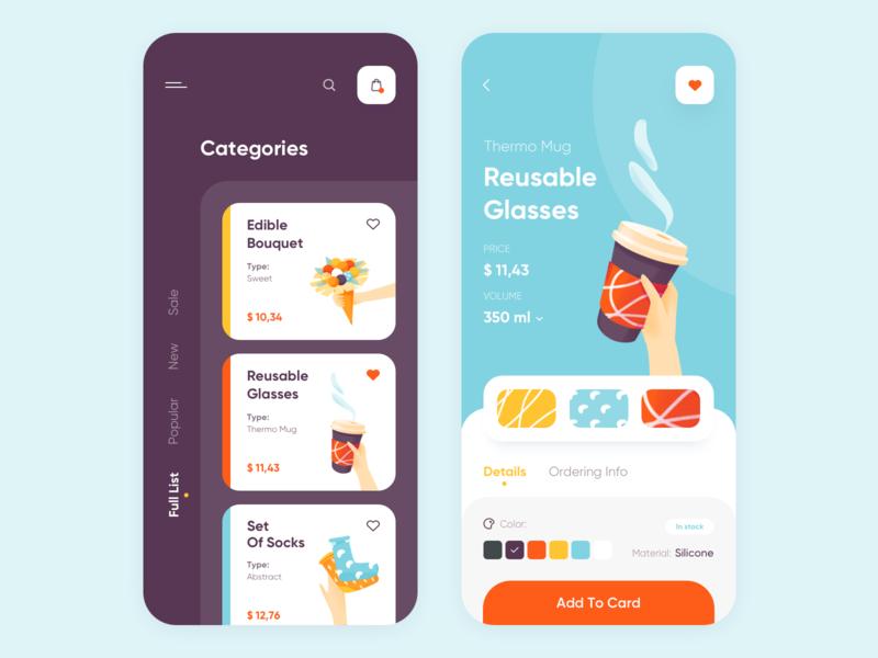 Creative Gifts - Mobile App gift creative illustration mobile app design clean minimal ux ui colors