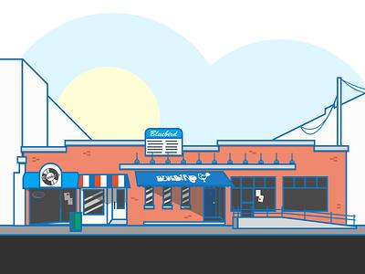 The Bluebird Nightclub bluebird bloomington architecture building illustration
