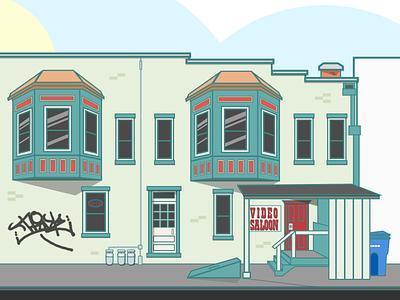 The Video Saloon sketch vector building illustration bloomington bars