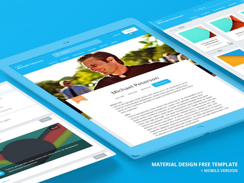 Free material design template ui kit freebies dashboard mobile responsive web site landing icon material design template free