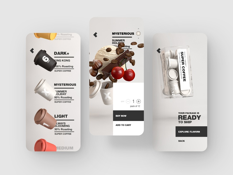 Conceptual mobile UI for coffee capsule store