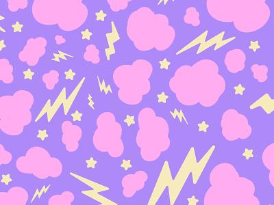 Cosmic Pattern pop stars lightning thunder cotton candy kawaii cute pattern space cosmic
