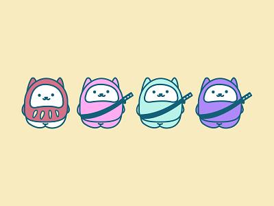3 Ninjas & a Daruma cuddly illustration design character cute ninja cats cat daruma