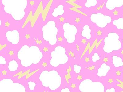 Cosmic Pattern 2 pop stars lightning thunder cotton candy kawaii cute pattern space cosmic