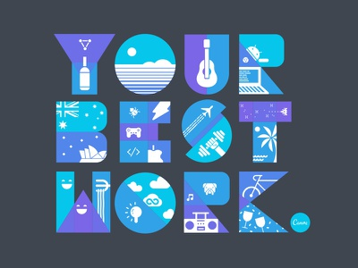 Recruitment Ad illustration typography icon icons bike thunder australia opera house landmarks culture fun android