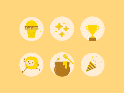 Canva Social Media Icons 02 bee trophy ice cream pastel cute people characters icons set illustration icon social media