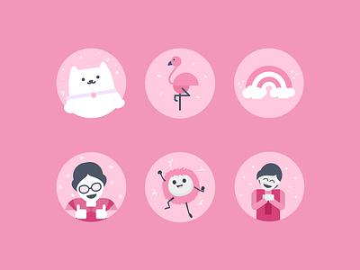 Canva Social Media Icons 03 flamingo cat pastel cute people characters icons set illustration icon social media