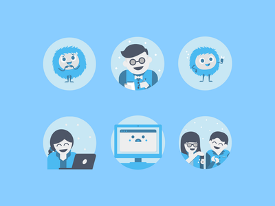 Canva Social Media Icons 04 waiter support pastel cute people characters icons set illustration icon social media
