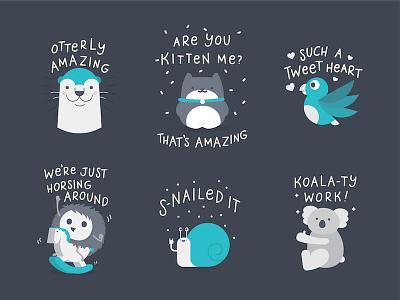 I 💖 Canva Stickers cute type hand drawn koala snail horse bird puns kitten cat