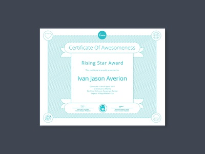 Canva Certificate of Awesomeness awesome globe heart art science line art certificate