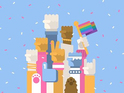Canva Culture Posters fun rock fist paw confetti empowering celebration pride equality culture